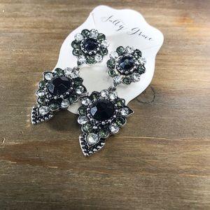 Jewelry - Rhinestone black and white drop earrings